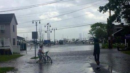 Cory Netter, 13, of Oak Beach, bike rides