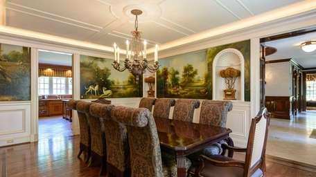 The mural in the dining room of this