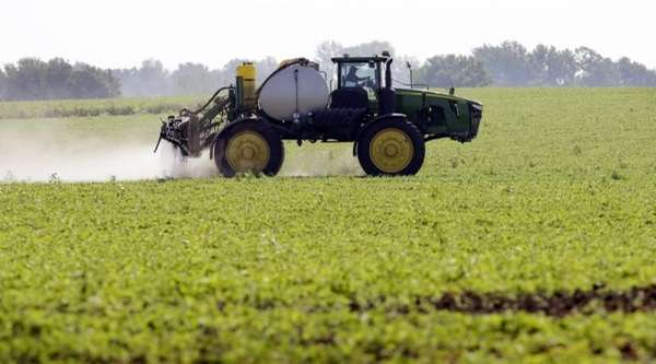A soybean field in Granger, Iowa, is sprayed