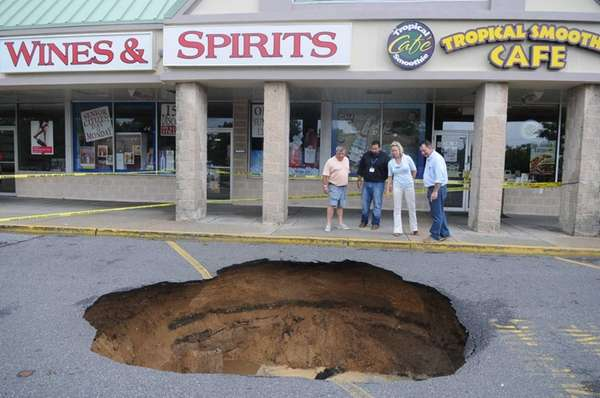 Islip Town officials at the scene of a