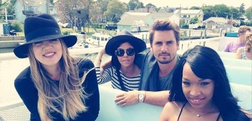 From left, Khloe Kardashian, Kourtney Kardashian, Scott Disick