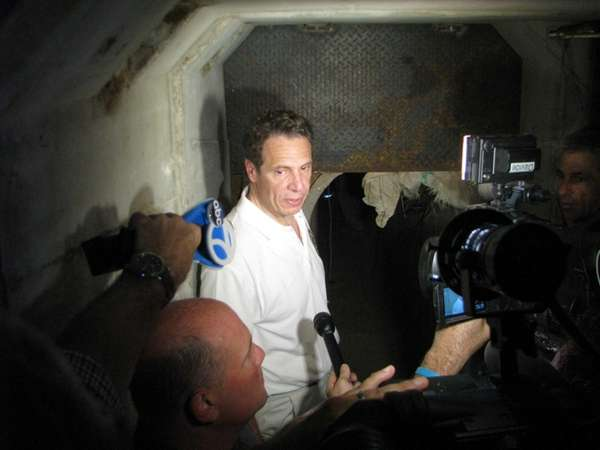 New York Gov. Andrew Cuomo talks to the