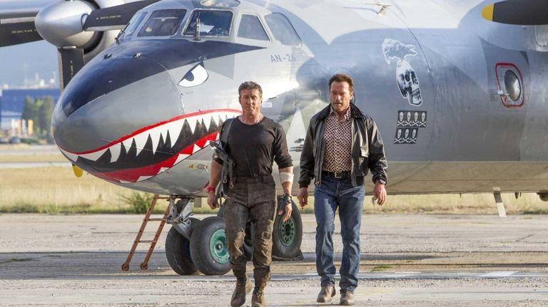 Sylvester Stallone, with Arnold Schwarzenegger, in a scene