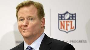 NFL Commissioner Roger Goodell takes questions during a