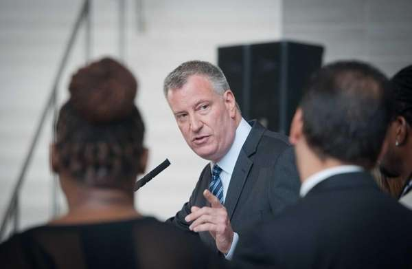 Mayor Bill de Blasio speaks at a press