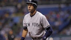 Derek Jeter of the Yankees strikes out swinging