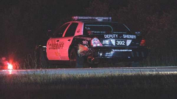 A Suffolk County Sheriff's patrol car was among