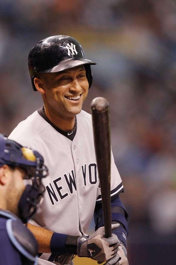 Derek Jeter of the Yankees cracks a smile