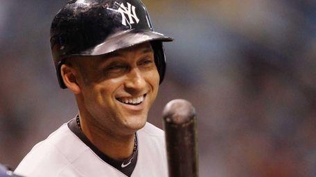 Derek Jeter of the Yankees cracks a smile