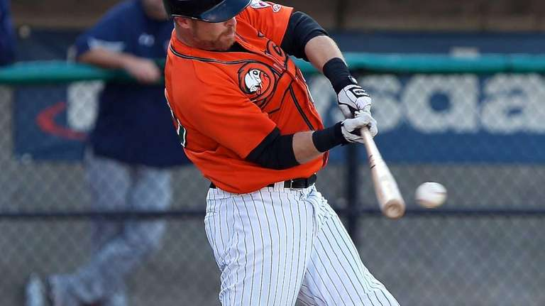 The Ducks' Lew Ford sends a single to