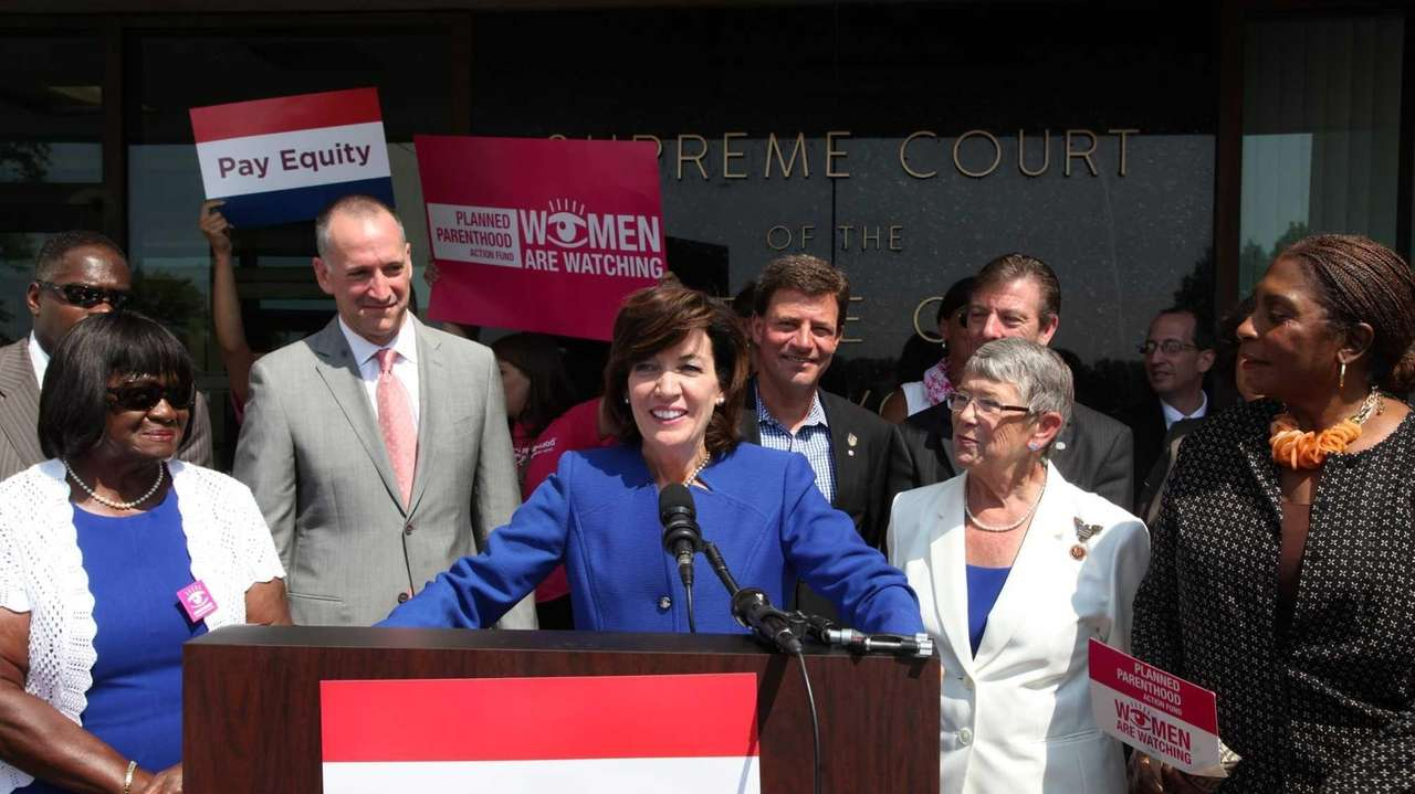 Democratic lieutenant governor candidate Kathy Hochul announced the