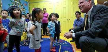 Mayor Bill de Blasio visits a Pre-K class
