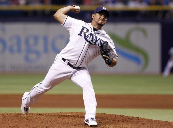 The Tampa Bay Rays' Joel Peralta delivers a