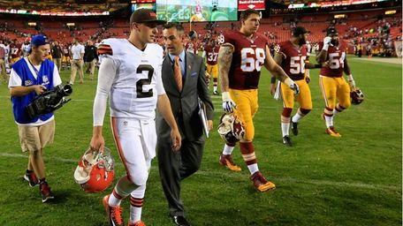Quarterback Johnny Manziel of the Cleveland Browns walks