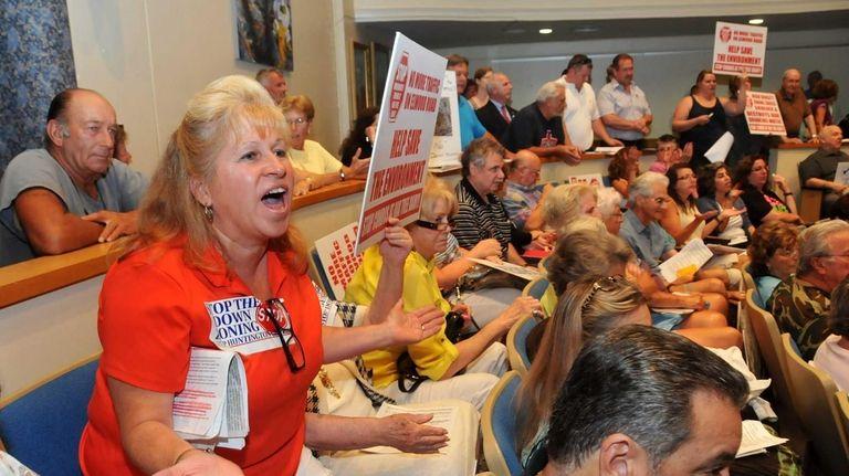 Barbara Donovan, left, an Elwood resident in opposition