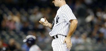 David Robertson of the Yankees looks at a