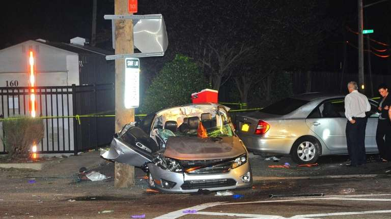 A late-night two-car accident at Covert Avenue and