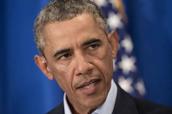 US President Barack Obama makes a statement to