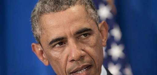 US President Barack Obama makes a statement to