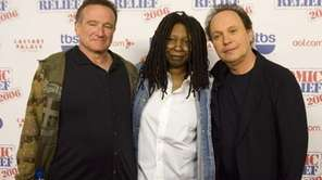 Comedians Robin Williams, Whoopi Goldberg and Billy Crystal
