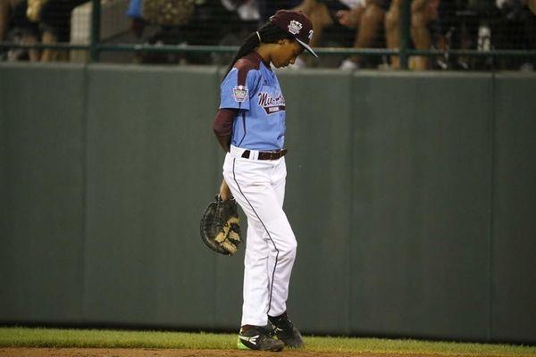 Philadelphia pitcher Mo'ne Davis stands at first base