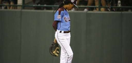 Philadelphia pitcher Mo'ne Davis stands at first base