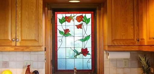 The stained glass window at a home on