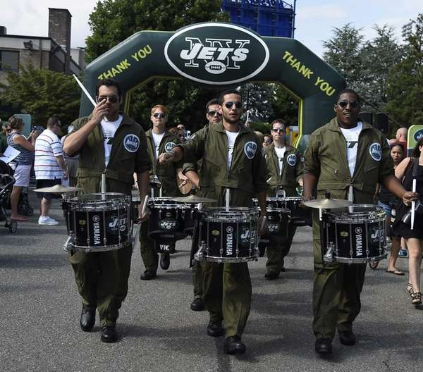 Jets Aviators march at Jets Fest before Jets