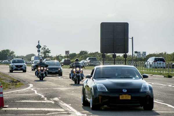 Traffic flows through Ocean Parkway near Jones Beach,