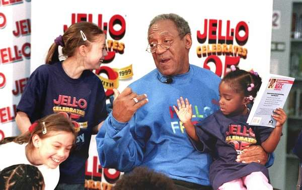 Jell-O pitchman Bill Cosby talks with school children,