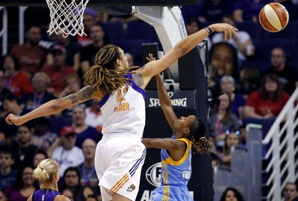 Phoenix Mercury center Brittney Griner blocks the shot