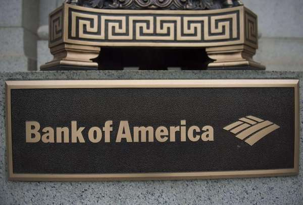 A sign stands in front of a Bank