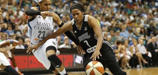 San Antonio Stars guard Jia Perkins (7) pushes