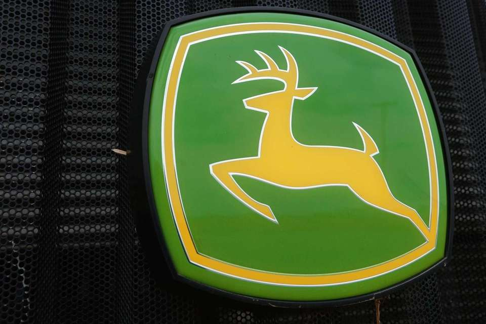 A John Deere farming logo is seen at