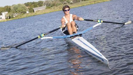 Nathan Sandler, 16, of Bridgehampton practices rowing in