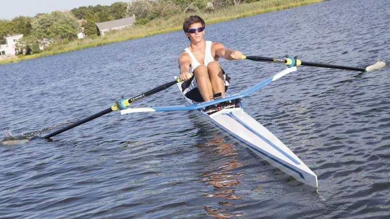 Nathan Sandler, 16, of Bridgehampton practices rowing in