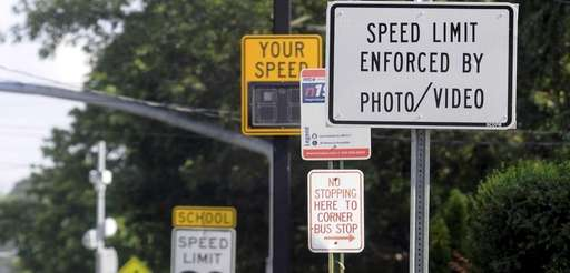 A sign warns motorists of a speed traffic