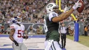 Jets tight end Jace Amaro (88) reacts after