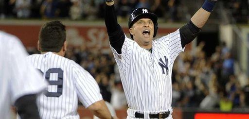 Yankees' Martin Prado reacts after his game-winning RBI