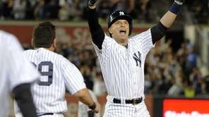 Yankees' Martin Prado reacts after his game-winning RBI