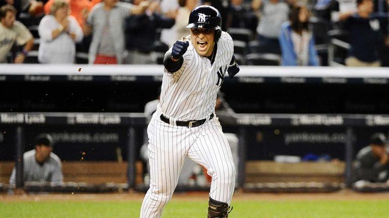 Martin Prado of the Yankees celebrating after hitting