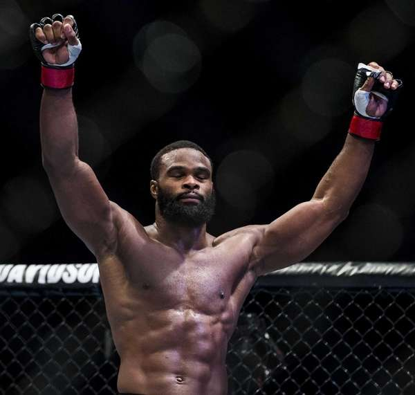 Tyron Woodley of USA celebrates after winning his