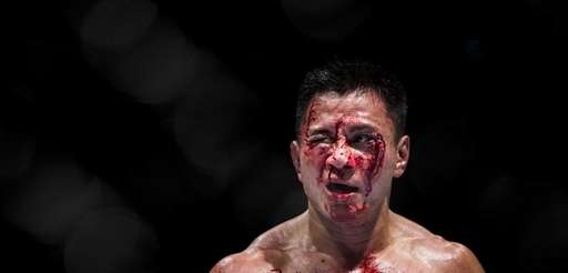 Cung Le bleeds during a middleweight fight against