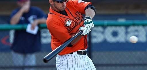 The Ducks' Dan Lyons bats in a game