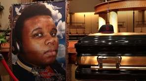 The coffin containing the remains of Michael Brown