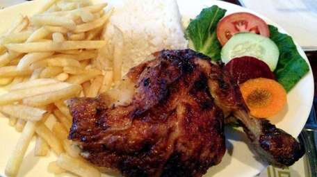 Rotisserie roasted chicken at Azafran in St. James.