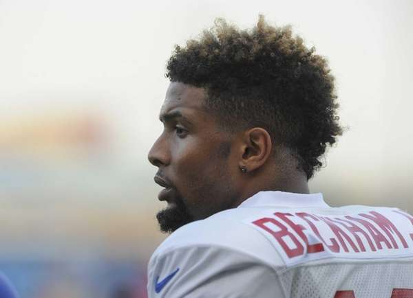 Giants rookie wide receiver Odell Beckham Jr. watches