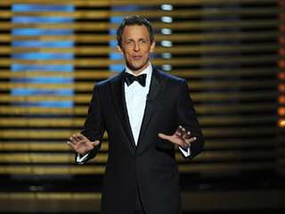 Host Seth Meyers speaks during the 66th Emmy