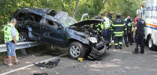 Nassau County Police investigate an accident on the