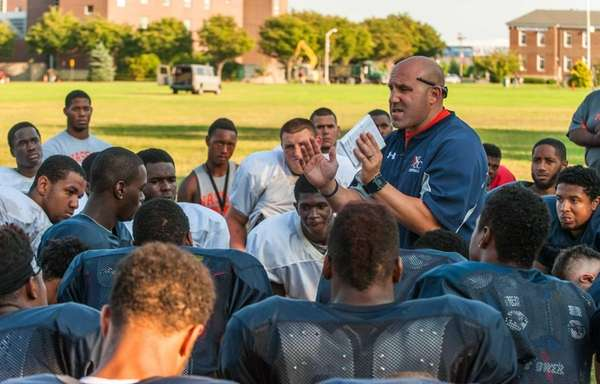 Nassau CC head football coach Joe Osovet speaks